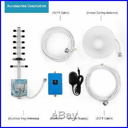 1700/2100MHz Cell Phone Signal Booster 70dB 3G/4G LTE Signal Repeater +2Antenna