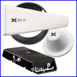 Cel-Fi GO X 100 dB Cell Phone Signal Booster with 1 Yagi and 1 Dome Antennas