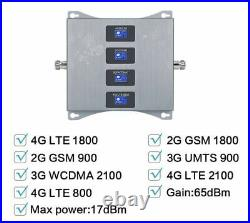 LTE 800 900 1800 2100 MHz Quad Band Mobile Signal Amplifier 2G 3G 4G Cell Phone
